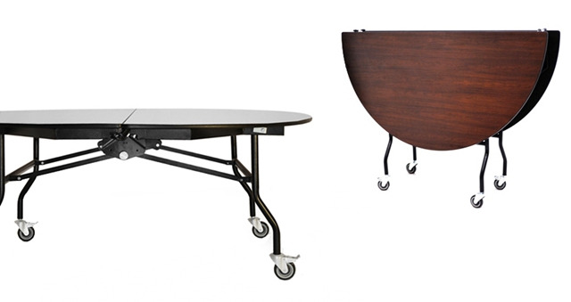 ... Round Mobile Folding Table Shown In Open And Closed Position ...
